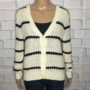 Black and White Striped Loft Cardigan